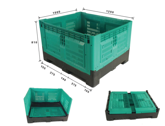 HDPE Collapsible Vented Foldable Plastic Pallet Bulk Box
